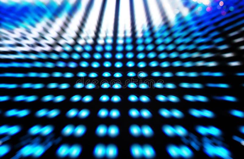 Diodo emissor de luz colorido Defocused, fundo azul do sumário do borrão fotos de stock