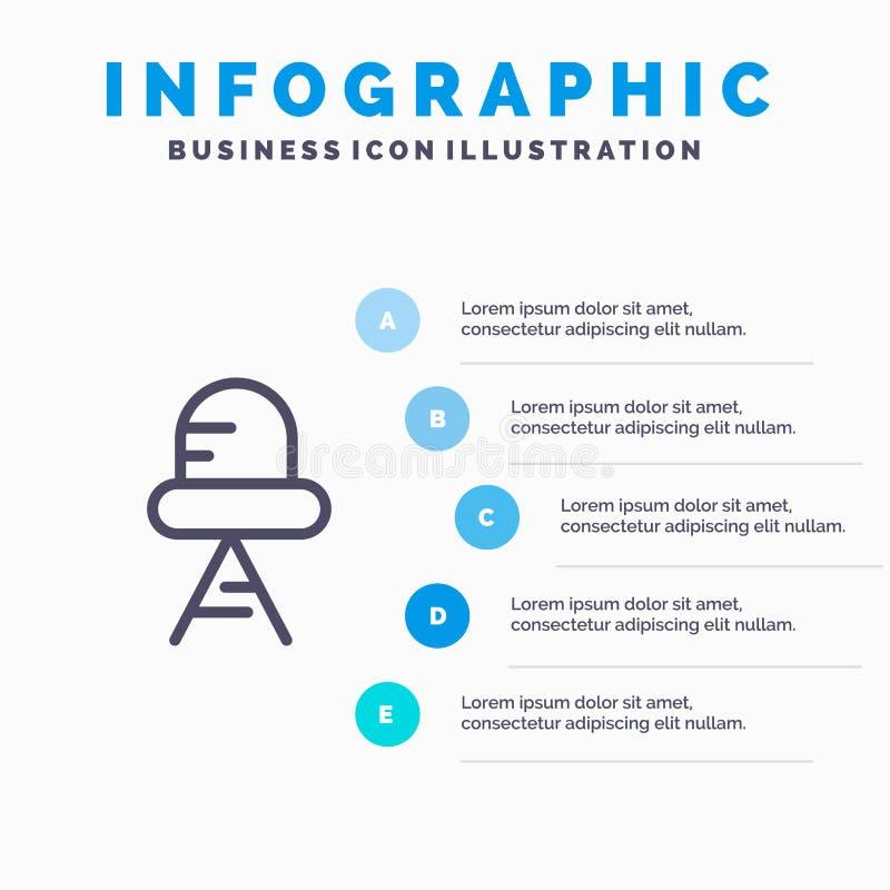 Diodo, línea llevada, ligera icono con el fondo del infographics de la presentación de 5 pasos stock de ilustración