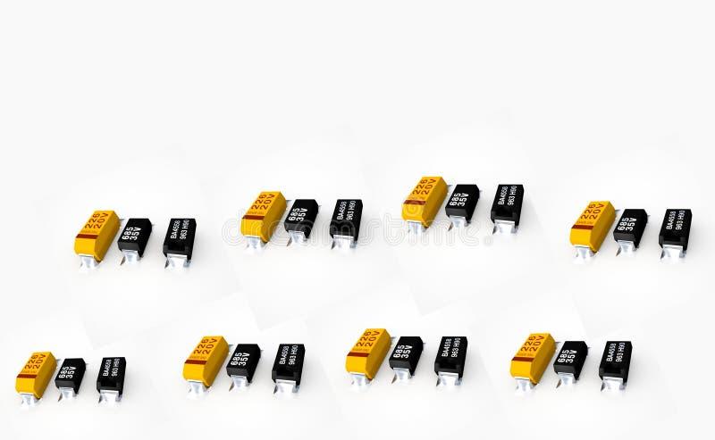 Diodos e transistor em um fundo branco fotos de stock royalty free