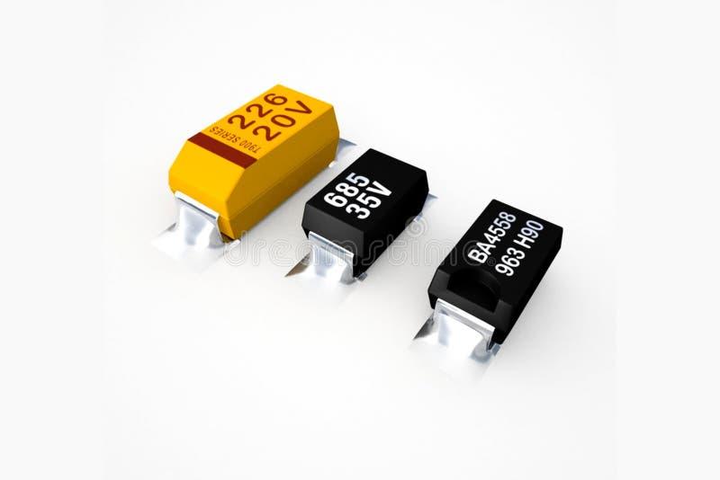Diodos y transistores en un fondo blanco stock de ilustración