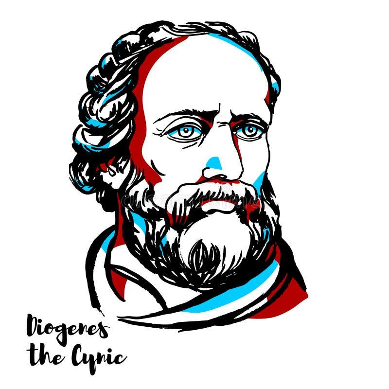 Diogenes Cyniczny portret ilustracja wektor