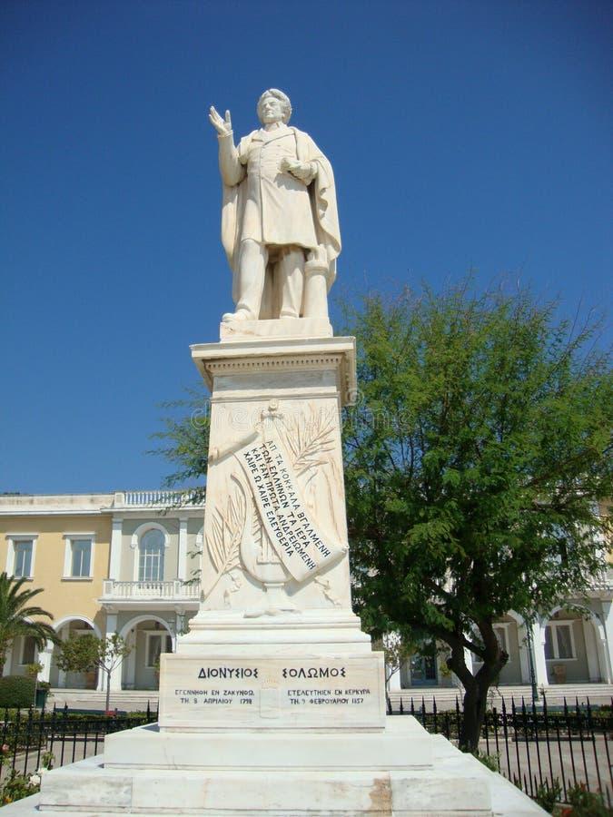 Dionisios Solomos, poeta griego, isla de Zante, Grecia Dionisios Solomos, poeta griego, isla de Zante, Grecia fotografía de archivo