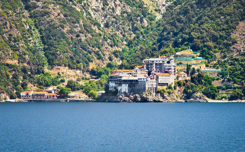 Dionisiou Monastery on Mount Athos. Halkidiki, Greece stock photography