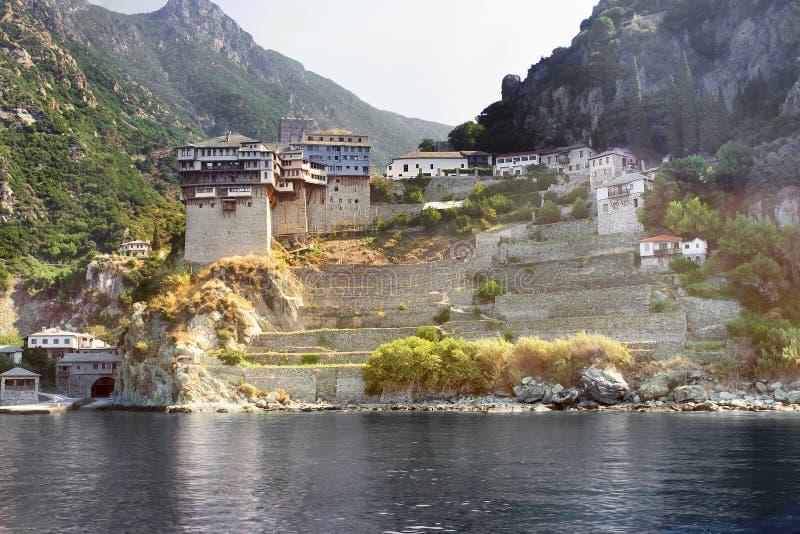 Dionysiouklooster op Onderstel Athos, Griekenland stock foto's