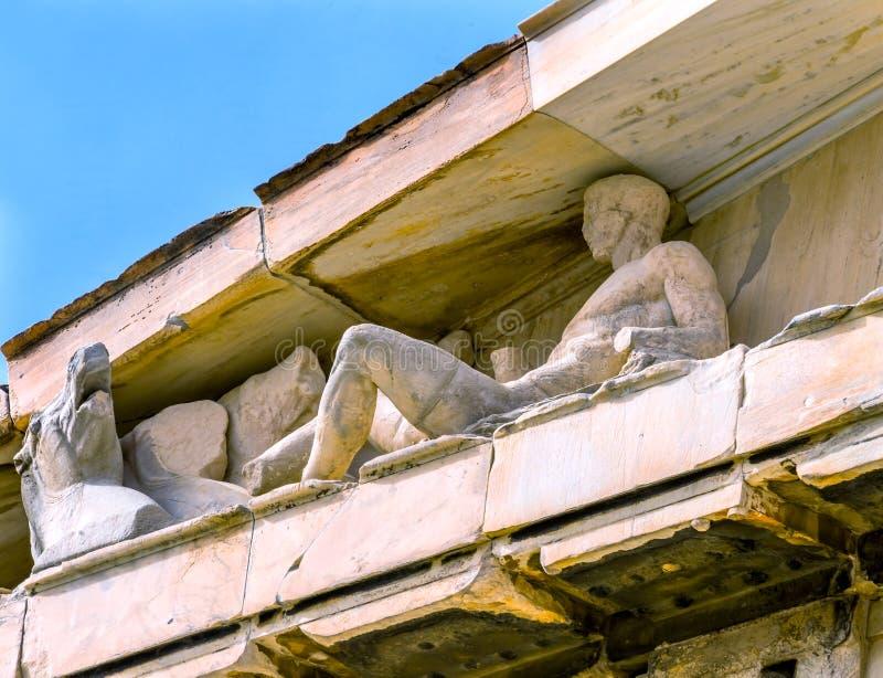 Dionysos Bacchus Horse Statues Parthenon Acropolis Atene Grecia fotografia stock libera da diritti