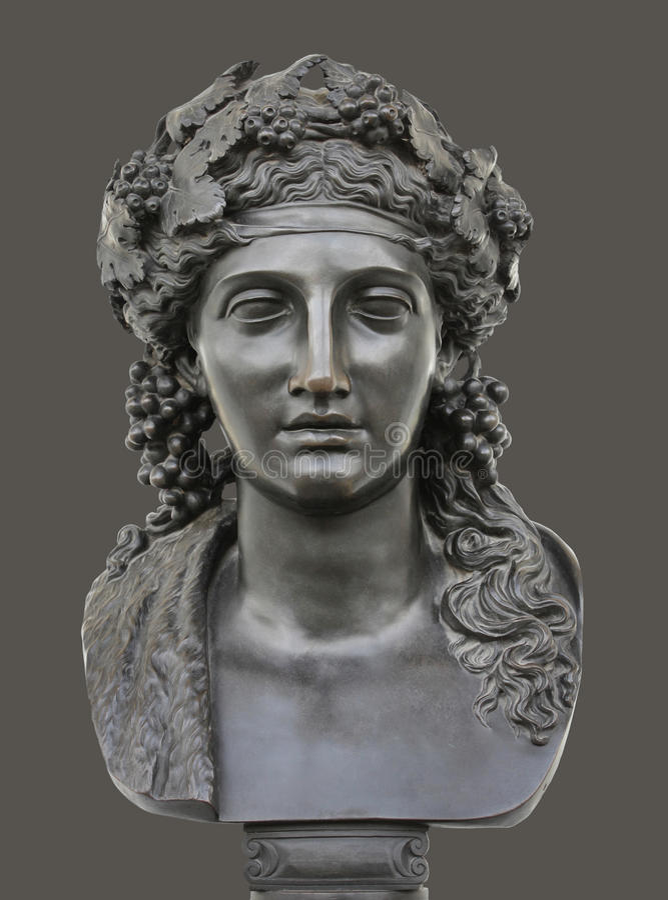 Dionysus古铜色雕象  库存照片