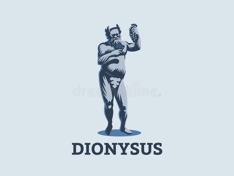 Dionysus of Bacchus houden een bos stock illustratie