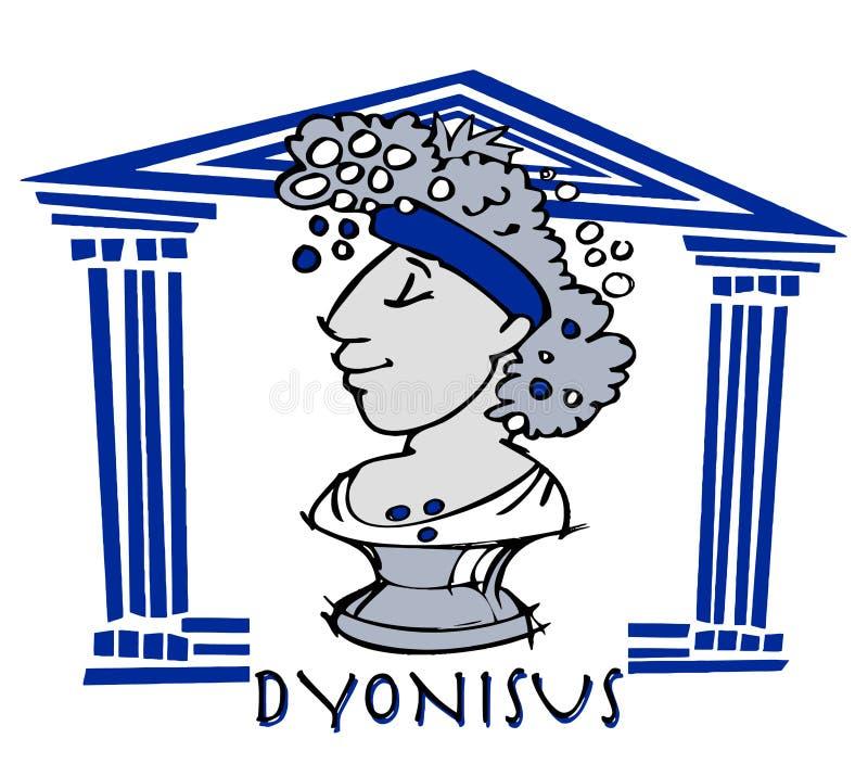 Dionysus, baccus, dios antiguo ilustración del vector