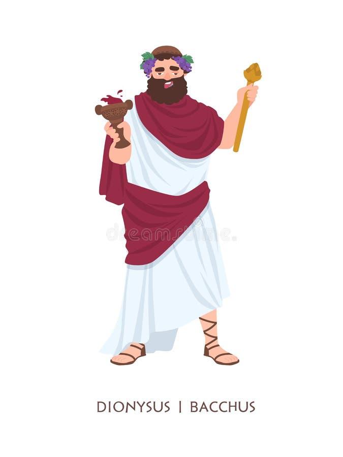 Dionysus eller Bacchus - gud eller gud av vin, winemaking och fertilitet i gammalgrekiska och romersk religion eller mytologi stock illustrationer