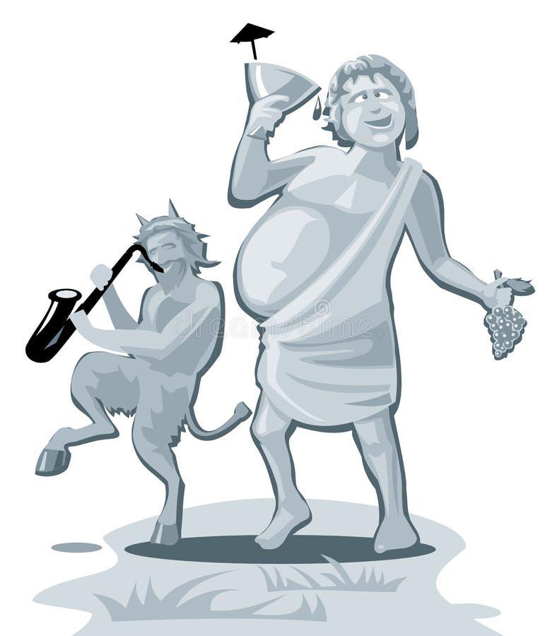 Dionysus i satyr Grecki bóg na białym tle Wektorowa płaska szara ilustracja royalty ilustracja