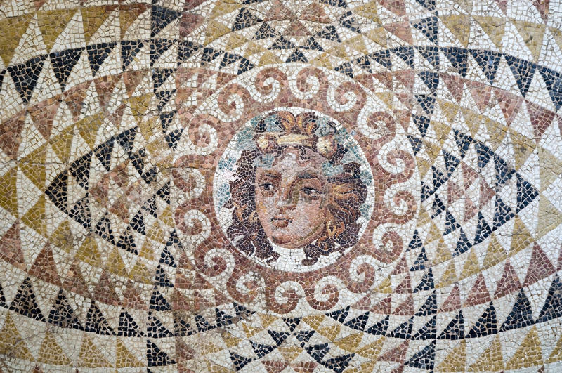 Dionysus mosaic. A close up to the mosaic of dionysus who is the god of wine in ancient greek royalty free stock photography