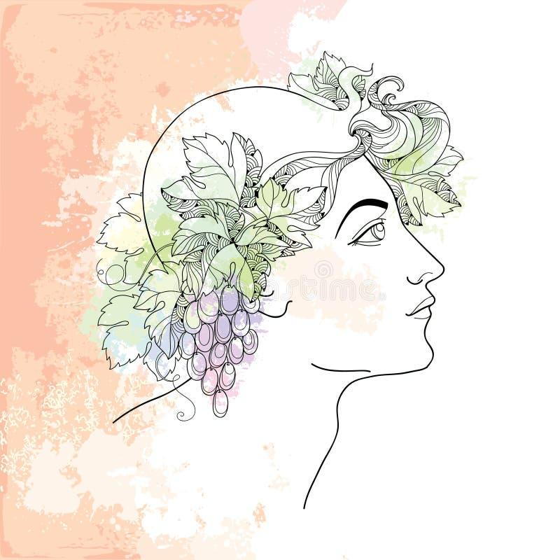 Dionysus o Bacco mitologico nello stile di contorno sui precedenti beige con le macchie nei colori pastelli illustrazione di stock