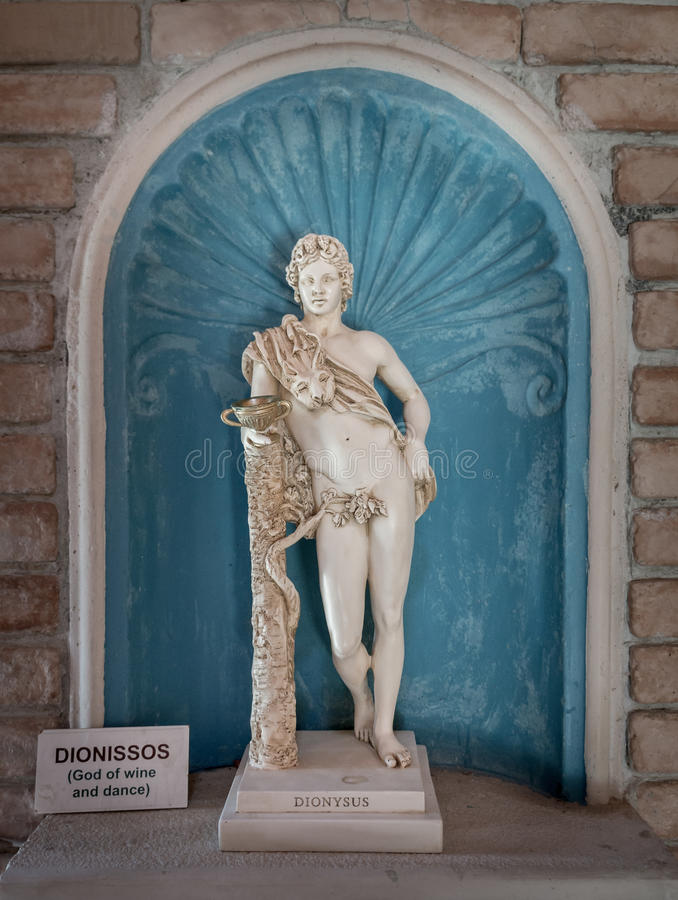 dionysus statue god of harvest and wine in greek stock