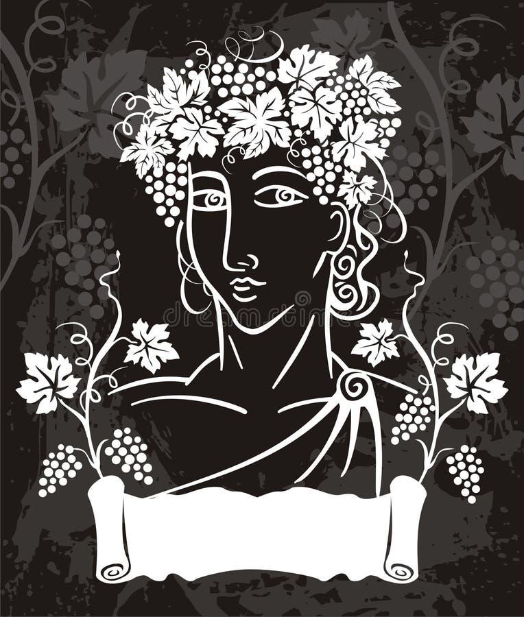 dionysuslogotyp royaltyfri illustrationer