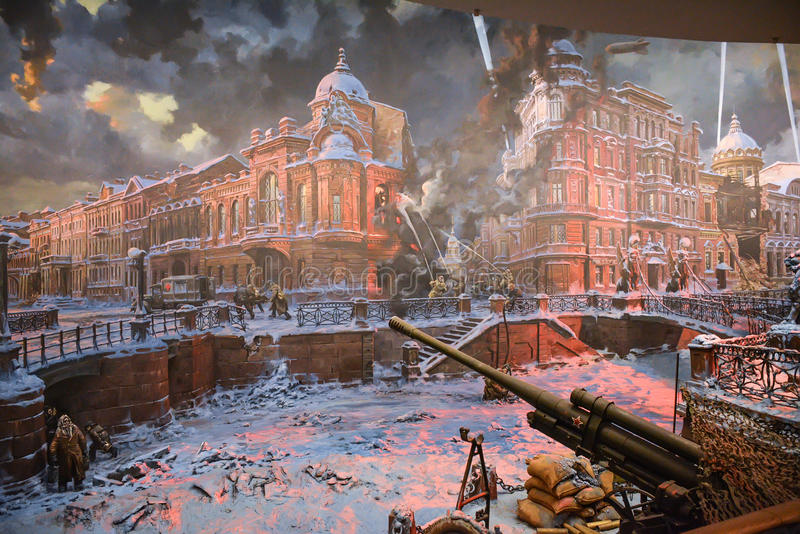 Diorama blokkade van Leningrad stock foto's