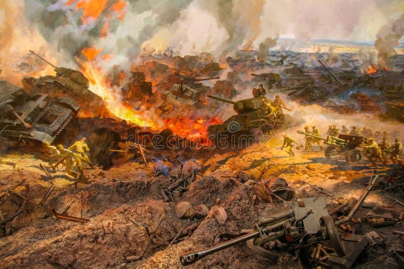 Diorama consacré à la bataille de réservoir de Prokhorovsky photos libres de droits