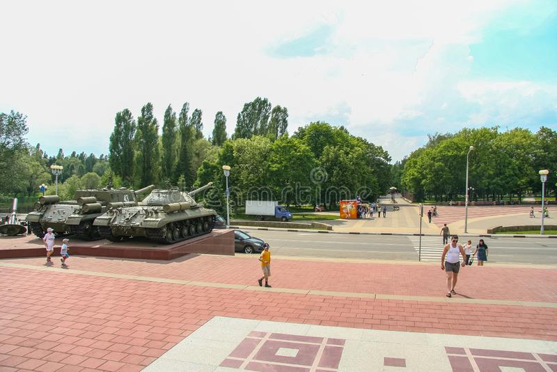 Diorama consacré à la bataille de réservoir de Prokhorovsky photographie stock libre de droits