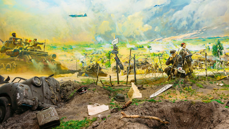 Diorama dépeignant la défaite des troupes nazies au Belarus Belarusi image stock