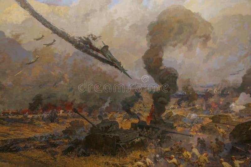 Diorama dedicato alla battaglia del carro armato di Prokhorovsky immagini stock libere da diritti