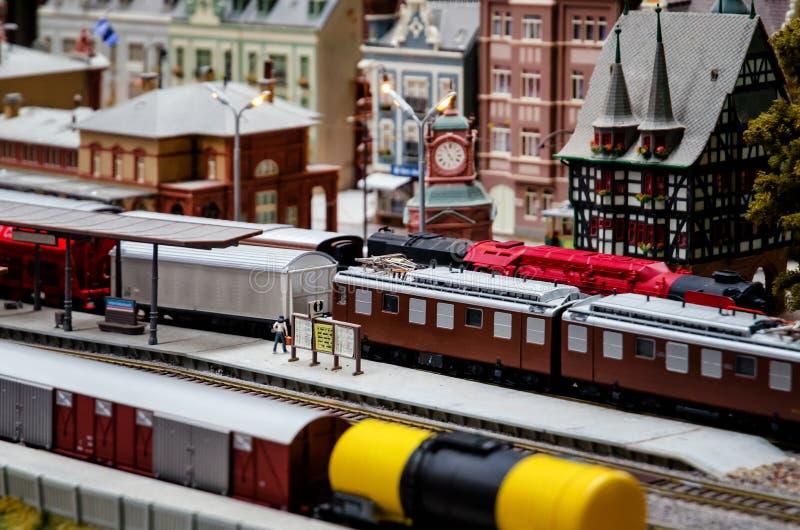 Diorama modèle de train photographie stock