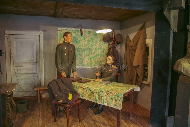 Diorama tilldelad till den Prokhorovsky behållarestriden arkivfoton
