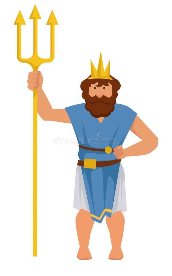 Dios antiguo griego o romano de Poseidon o de Neptuno del mar stock de ilustración