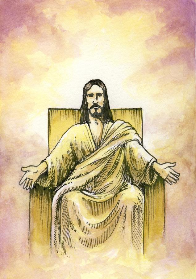 Dios asentado con los brazos abiertos stock de ilustración