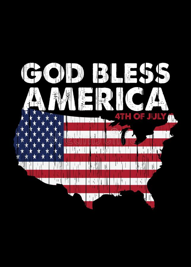 Dios bendice América orgullo el cartel apenado mapa de la independencia del 4 de julio colorido stock de ilustración