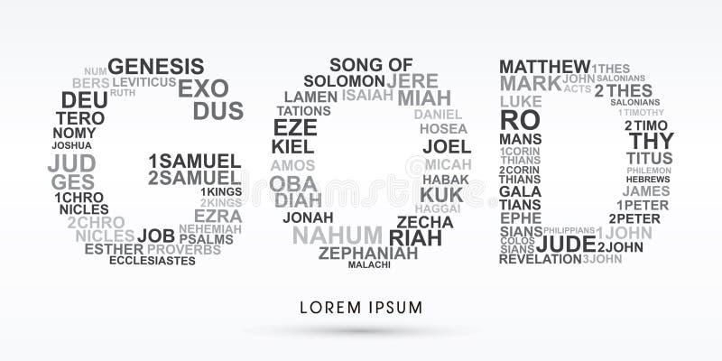 DIOS con la biblia redacta génesis a la revelación stock de ilustración