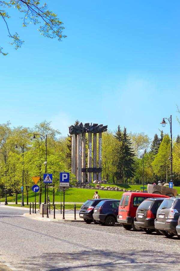 Dios conmemorativo, honor, patria en Bialystok, Polonia imagenes de archivo