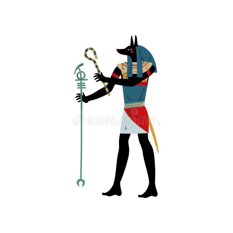 Dios de Anubis de la muerte, símbolo del ejemplo egipcio antiguo del vector de la cultura ilustración del vector