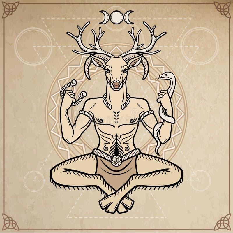 Dios de cuernos Cernunnos Misticismo, esotérico, paganismo, ocultismo Ilustración del vector stock de ilustración