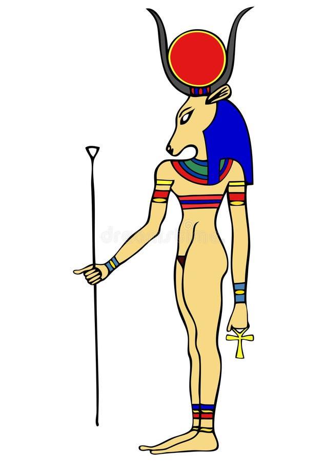 Dios de Egipto antiguo - Hathor ilustración del vector