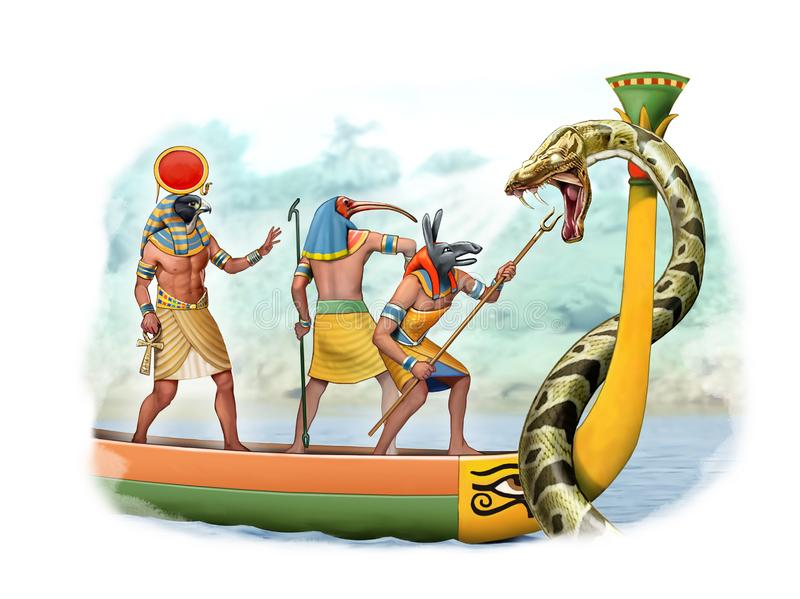 Dios de Egipto antiguo que lucha una serpiente gigante ilustración del vector