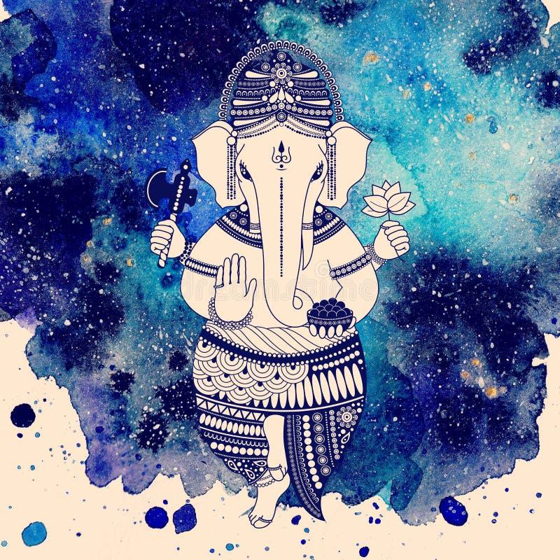 Dios de Ganesha en fondo de la acuarela ilustración del vector