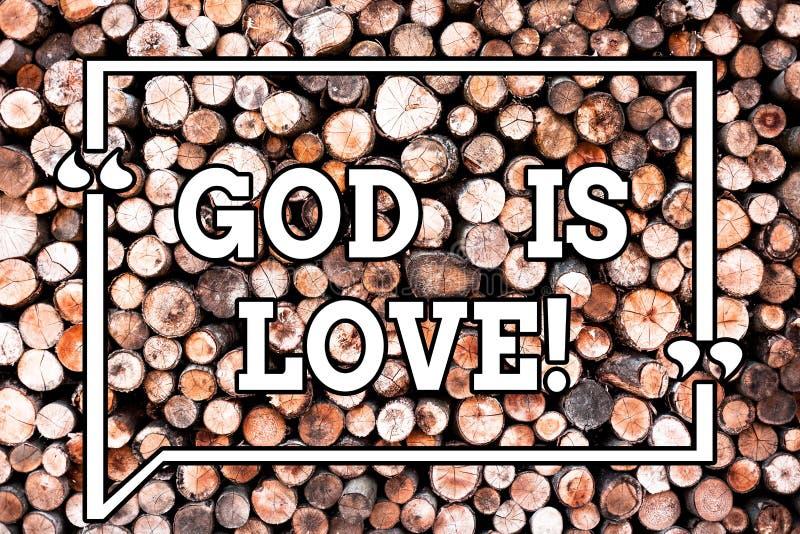 Dios de la demostración de la muestra del texto es amor Foto conceptual que cree en Jesús que tiene cristianismo religioso de los ilustración del vector