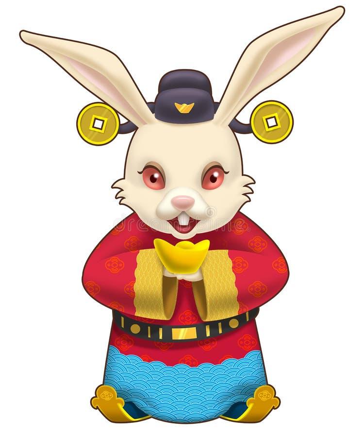 Dios del conejo de la fortuna que sostiene una pepita de oro ilustración del vector
