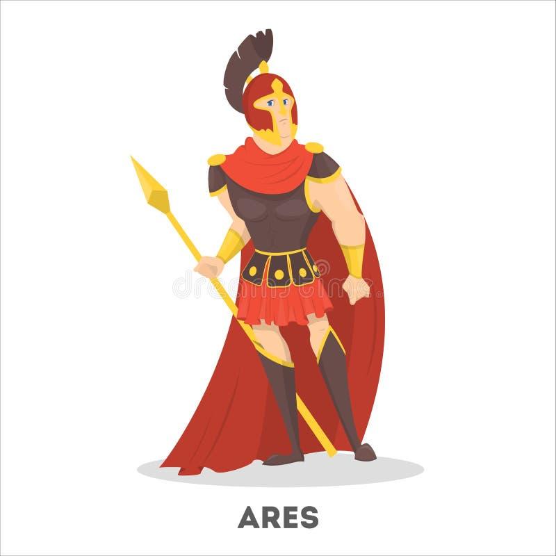 Dios del griego clásico de Ares con el escudo Mítico olímpico ilustración del vector