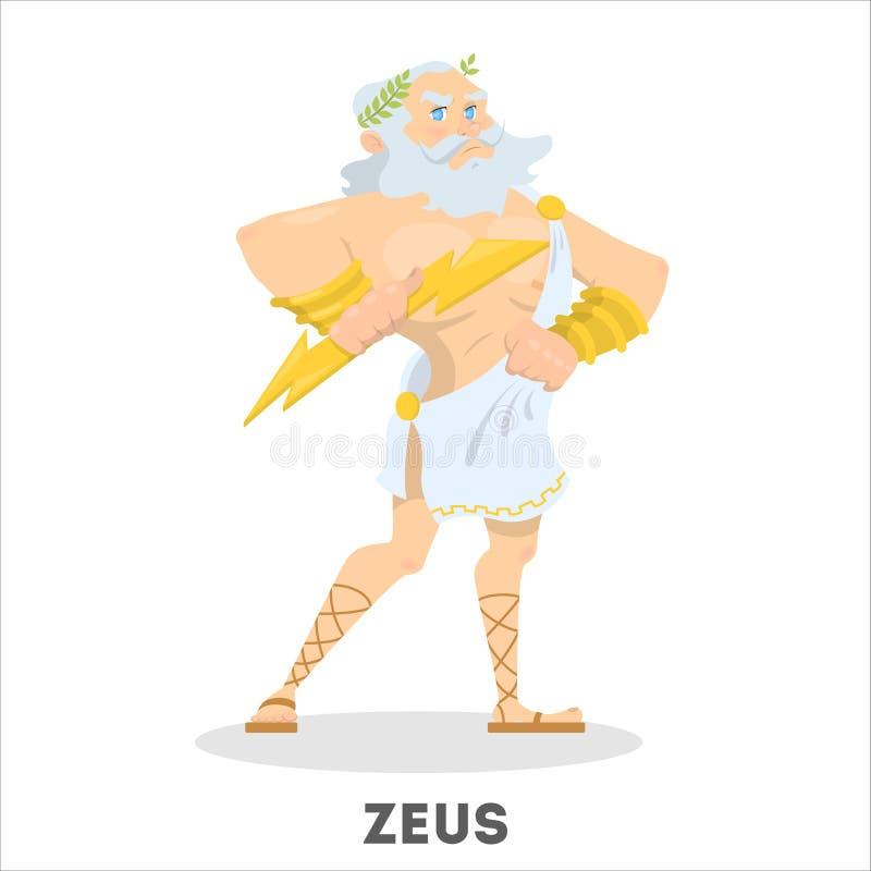 Dios del griego clásico de Zeus con un trueno ilustración del vector