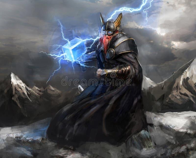 Dios del thor del relámpago stock de ilustración