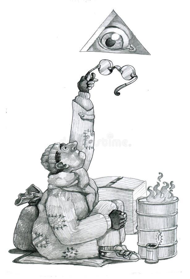 Dios distraído stock de ilustración