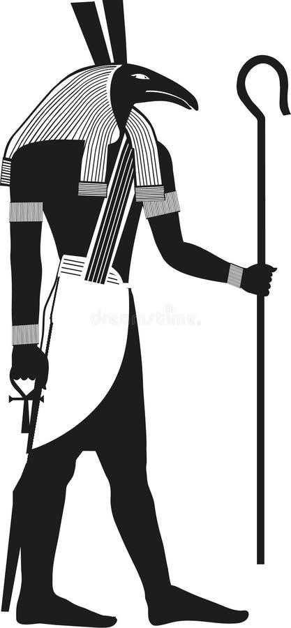 Dios egipcio antiguo Seth Silhouette stock de ilustración