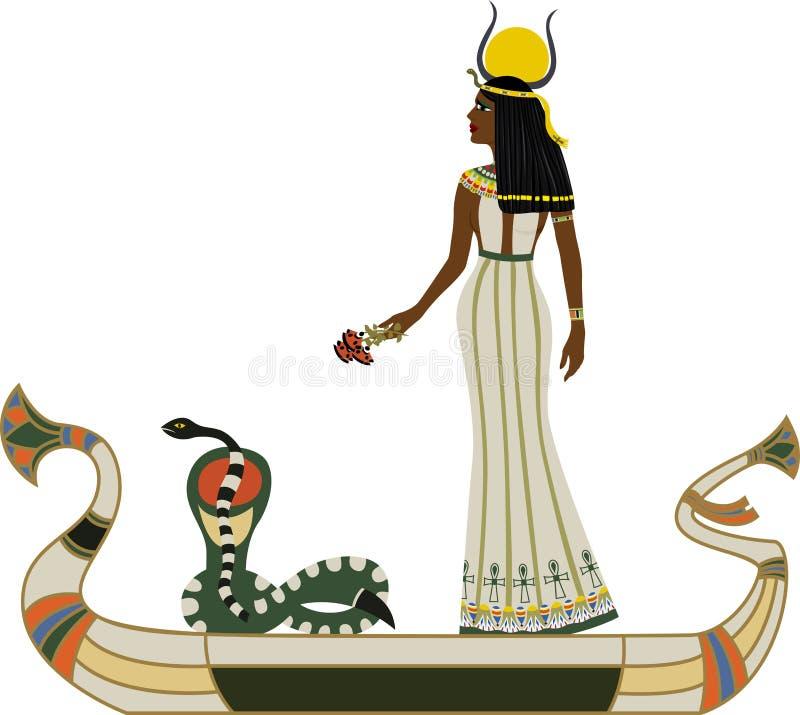 Dios egipcio con la serpiente stock de ilustración