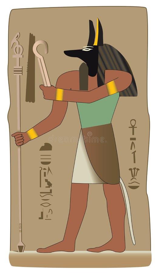 Dios egipcio de Anubis en vector con símbolo egipcio stock de ilustración