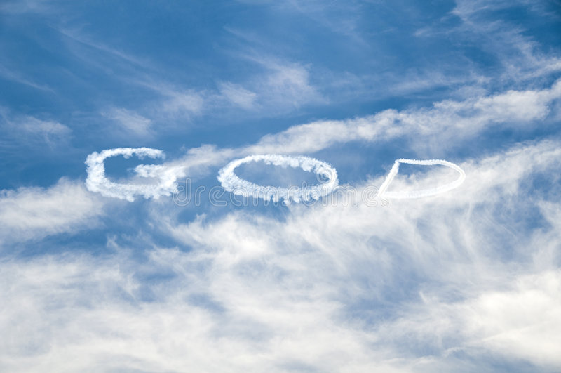 Dios escrito en el cielo imagenes de archivo
