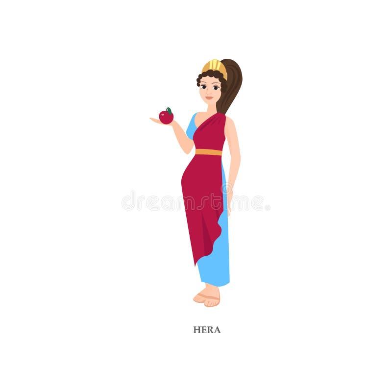Dios griego atractivo lindo Hera, ropa roja, azul de la mujer libre illustration
