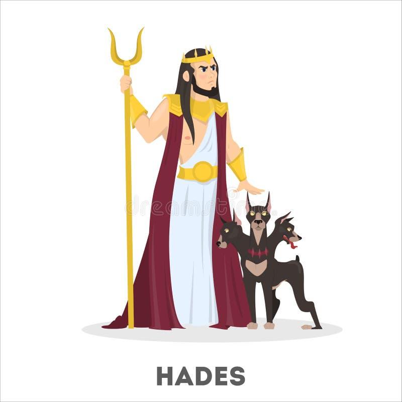 Dios griego de Hades con el perro Historia antigua stock de ilustración
