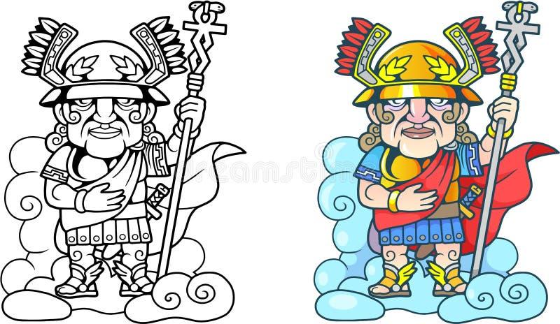 Dios Hermes en la nube, libro de colorear divertido del griego clásico del ejemplo stock de ilustración
