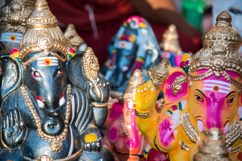 Dios hindú colorido nombró a Ganapati en Chidambaram, Tamilnadu, la India imagen de archivo