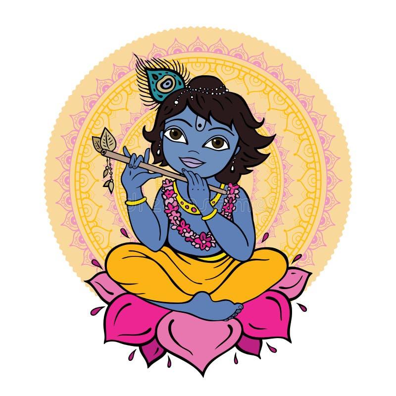 Dios hindú Krishna ilustración del vector